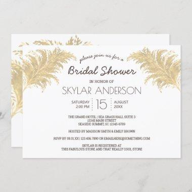 Wedding Pampas Grass Tan On White Bridal Shower Invitations
