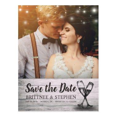 Wedding Photo Save The Date Champagne Glasses Wood PostInvitations