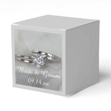Wedding Rings on Gray Favor Box