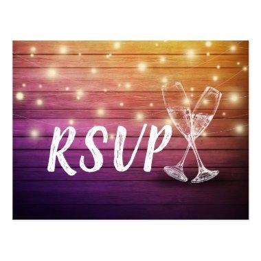 Wedding RSVP Champagne Glasses Wood String Lights Post