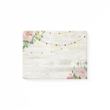Wedding Rustic Wood Watercolor Floral String Light Post-it Notes
