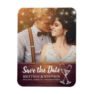 Wedding Save The Date Photo Magnet Champagne Glass
