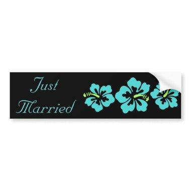 Wedding Set - Tropical - Hibiscus Blue Bumper Sticker