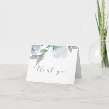 Wedding Shower Soft Dusty Blue Watercolor V2 Thank You Invitations