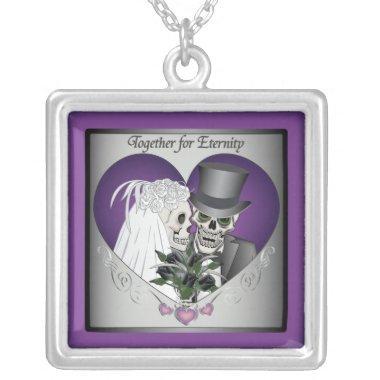 Wedding Skulls - Purple Silver Plated Necklace