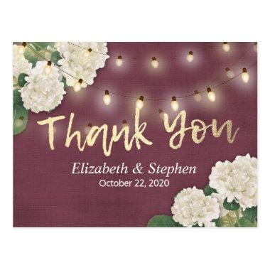 Wedding Thank You Hydrangea String Lights Burgundy Post