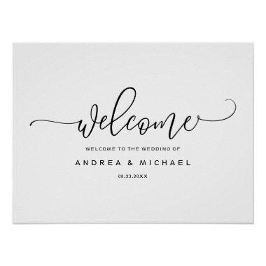 Wedding Welcome Sign - Bounce Calligraphy Black