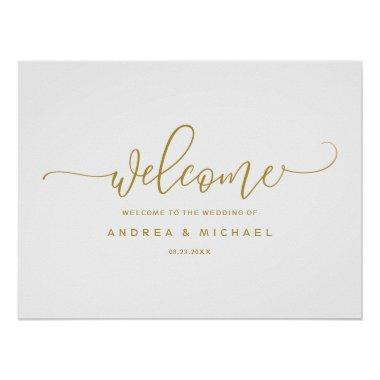 Wedding Welcome Sign - Bounce Calligraphy Gold