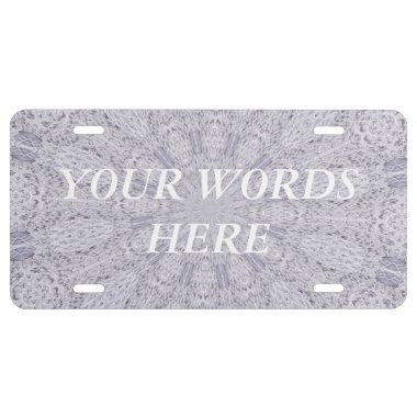 Wedding White Lace Mandala Kaleidoscope Abstract 1 License Plate