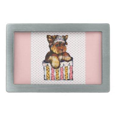 WEDDING YORKIE RECTANGULAR BELT BUCKLE