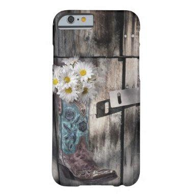 Western country daisy barn wood cowboy boot barely there iPhone 6 case