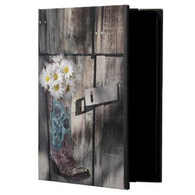 Western country daisy barn wood cowboy boot iPad air cover