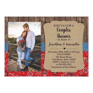 Western couples shower country chic wedding Invitations