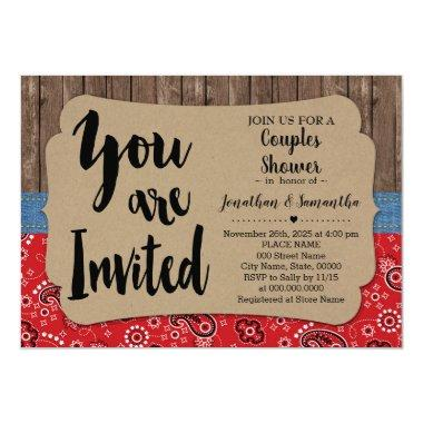 Western couples shower country wedding Invitations