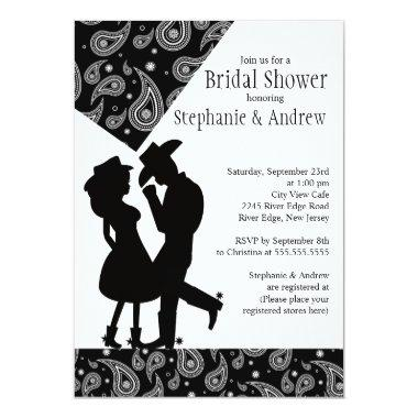 Western Cowgirl couple Bridal Shower Invitations