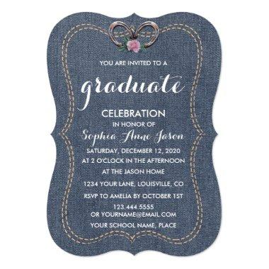 Western Old Denim Horseshoes GRADUATION Invite