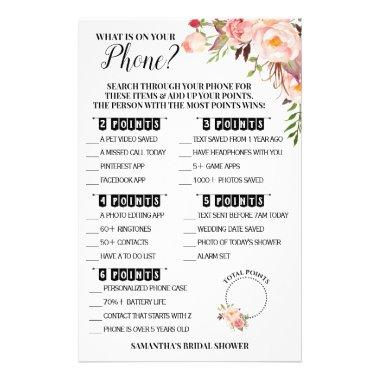 What is on your Phone Bridal Shower Pink Game Invitations