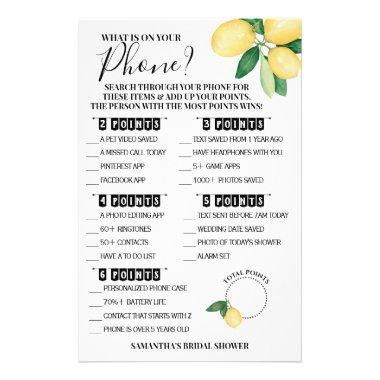 What is on your Phone Lemons Shower Game Invitations