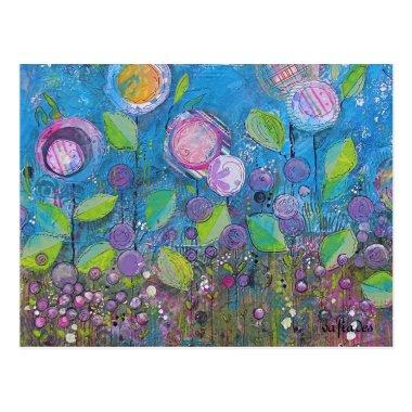 Whimsical art, bright flowers in beautiful garden. postInvitations