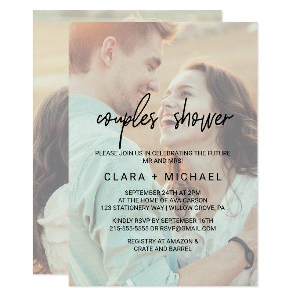 Whimsical Calligraphy | Faded Photo Couples Shower Invitations