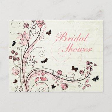 Whimsical chic floral swirls  invite