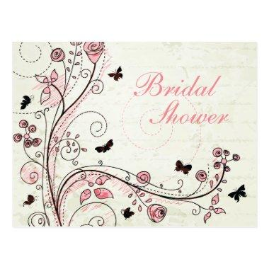 Whimsical chic floral swirls bridal shower invite postInvitations