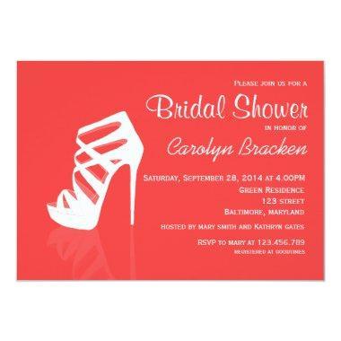 Whimsical Chic High Heel Bridal Shower Invite