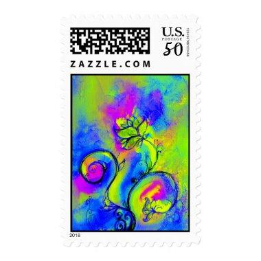 WHIMSICAL FLOWERS & BUTTERFLY blue pink yellow Postage