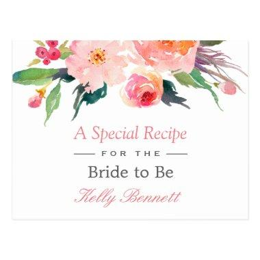 Whimsical Watercolor Floral Bridal Shower Recipe PostInvitations