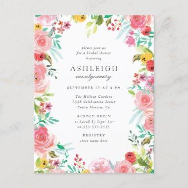 Whimsical Watercolor Floral Wreath Bridal Shower Invitation PostInvitations
