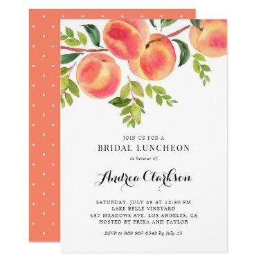 Whimsical Watercolor Peaches Bridal Luncheon Invitations