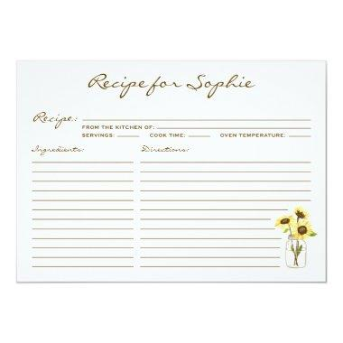 Whimsical Yellow Sunflowers Mason Jar Recipe Invitations