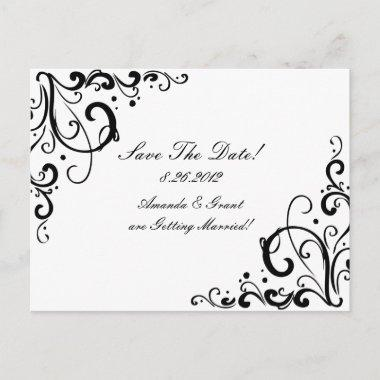 White and Black Flourish Save The Date Announcement Post