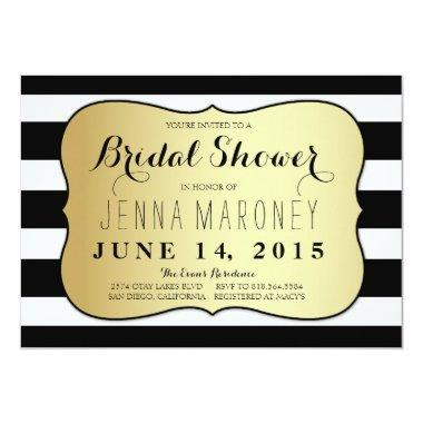 White and Black Stripes w/ Gold Foil Bridal Shower Invitations