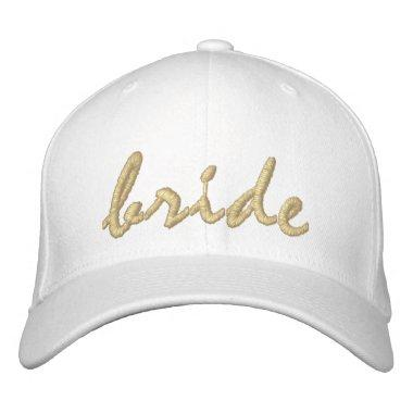 White and Gold Bride Embroidered Baseball Cap