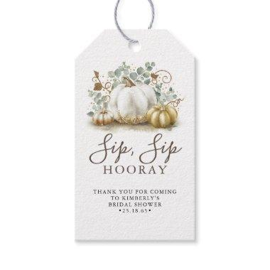 White and Gold Pumpkin Fall Sip Sip Hooray Gift Tags