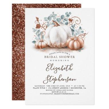 White and Rose Gold Pumpkins Fall Bridal Shower Invitations