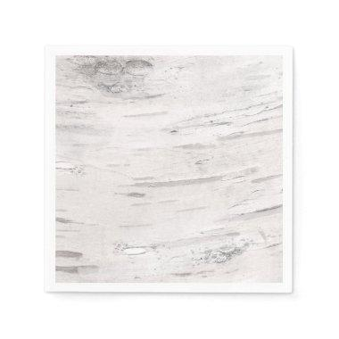 White Birch Wood Rustic Country Barn Wedding Paper Napkin