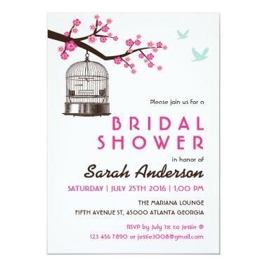 White Bird Cage Floral Bridal Shower Invitations