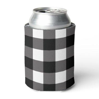 White & Black Checkered Squares Buffalo Plaid Can Cooler