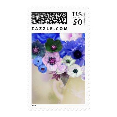 WHITE BLUE ROSES AND ANEMONE FLOWERS POSTAGE