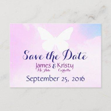 White Butterfly Pink Sky Save The Date Invitations
