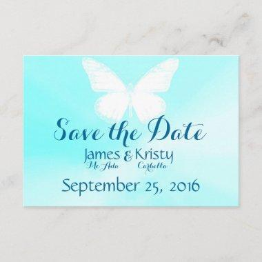 White Butterfly Save The Date Invitations