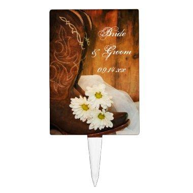 White Daisies and Cowboy Boots Western Wedding Cake Topper