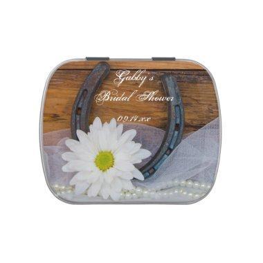 White Daisy and Horseshoe Western  Candy Tin