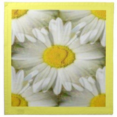 White Daisy Yellow Mirror Image American MoJo Napk Napkin