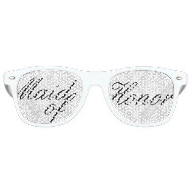 White Damask Maid of Honor Bachelorette Party Retro Sunglasses