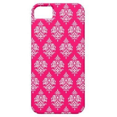 WHITE DAMASK PATTERN,RED iPHONE 5 CASE