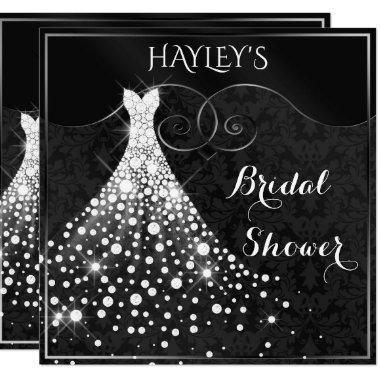 White Diamonds Gown Black Silver Bridal Shower Invitations