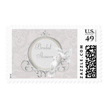 White Doves & Paisley Lace Bridal Shower Postage
